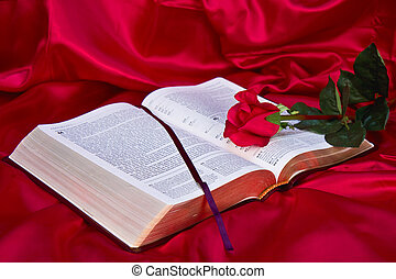 Red Rose on Bible - Red silk background with red rose across...