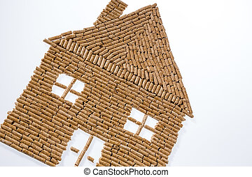 from pellets for heating house - a house was built of...