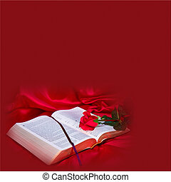 Red Background with Bible - Beautiful textured square shape...