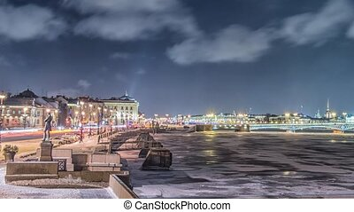 Beatiful view Neva river in Saint Petersburg, Russia -...