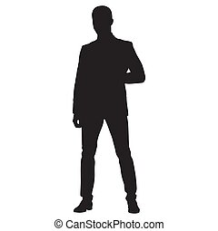 Business man in suit with his legs crooked, front view vector silhouette