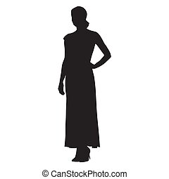 Young woman dressed in long summer dress, vector silhouette