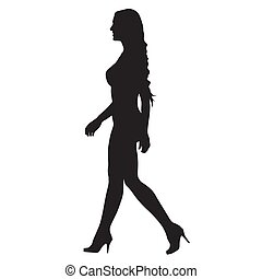 Walking sexy woman in two-piece swimsuits goes in high heel boots from profile, side view vector silhouette