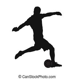 Soccer goalkeeper kicking off the ball, vector silhouette,...