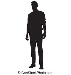 Young man in shirt, vest and pants standing, vector silhouette