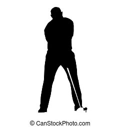 Golf player icon. Isolated vector silhouette