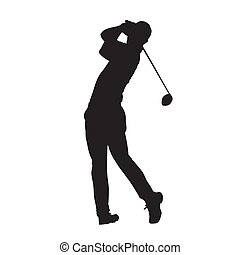 Golf player vector isolated silhouette