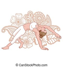 Women silhouette. Wild Thing Yoga Pose. Camatkarasana Vector...