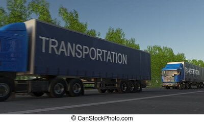 Speeding freight semi trucks with TRANSPORTATION caption on the trailer. Road cargo transportation. Seamless loop 4K clip