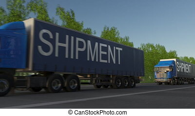 Speeding freight semi trucks with SHIPMENT caption on the trailer. Road cargo transportation. Seamless loop 4K clip