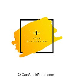 travel destination with airplane color illustration