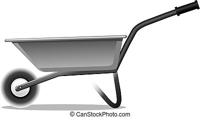 wheelbarrow for gardening - illustration of steel handle...