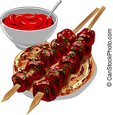 kebabs with sauce