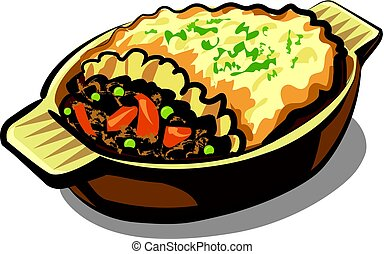 traditional shepherd pie - illustration of traditional...
