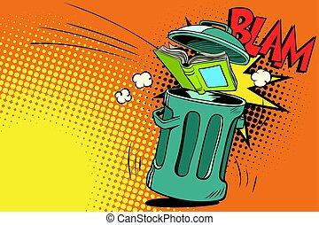 book thrown in the trash. Comic book cartoon pop art retro...