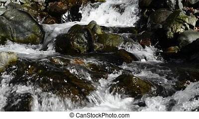 Mountain streams. Water ripples. Surface of the water