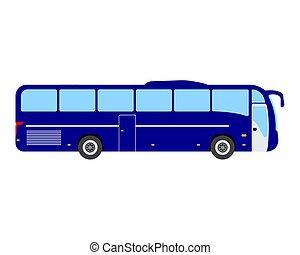 Bus flat icon and logo. Cartoon Vector illustration