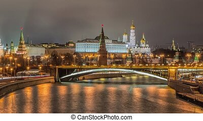 View of Moscow Kremlin in winter night. Russia - Russia,...