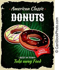 Retro Fast Food Donuts Poster - Illustration of a design...