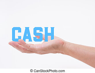 Man hand holding CASH word on white background