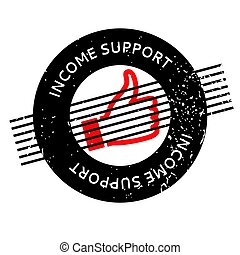 Income Support rubber stamp. Grunge design with dust...