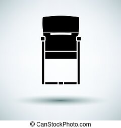 Guest office chair icon on gray background, round shadow....