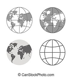Vector Illustration of gray globe icons. - Set of different...
