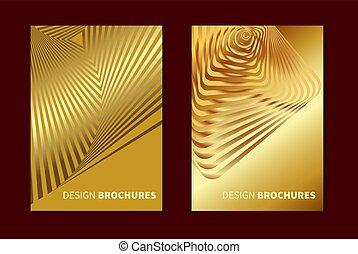 Golden opt art - Striped golden opt art. Geometric optical...