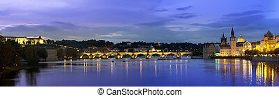 Beautiful Cityscape of Prague at night with Charles...