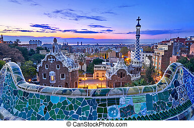 Park Guell In Barcelona Spain at Sunrise