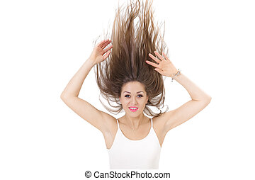 portrait of smiling woman with raised hair up on white background. crazy girl