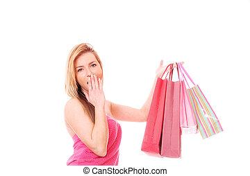 sonriente, compras, mujeres
