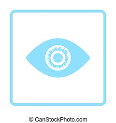 Eye with market chart inside pupil icon. Blue frame design....