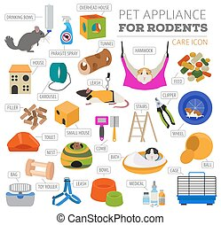 Pet appliance icon set flat style isolated on white. Rodents...