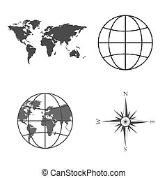 Vector illustration of world map, globe, wind rose, compass....