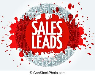 Sales Leads words cloud, business concept background