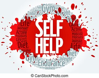 Self Help circle stamp word cloud, health concept