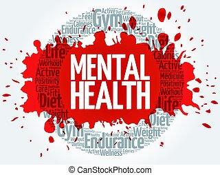 Mental health word cloud - Mental health circle stamp word...