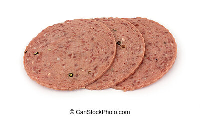 Three slices of cotto salami luncheon meat