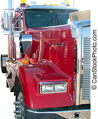 Semi truck tractor, Isolated - Isolated semi tractor engine...
