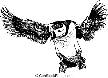 Puffin bird doodle hand drawn - freehand sketch illustration...