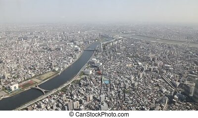 Tokyo skyline Sumida - Aerial view time lapse of Tokyo city...