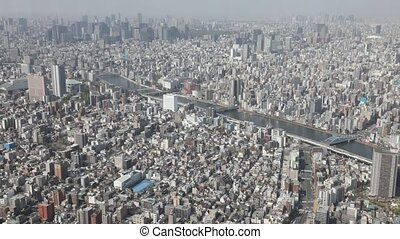 Tokyo skyline time lapse - Aerial view time lapse of Tokyo...