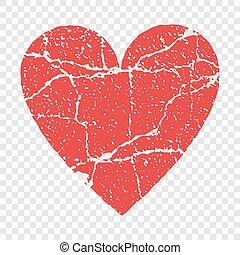 Grunge red heart transparent vector illustration
