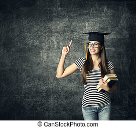 Student in Graduation Hat, Finger Point, Master Girl in Glasses Mortarboard over Blackboard, University Education