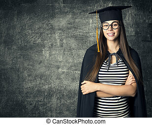 Student in Graduation Hat, Woman in Glasses Mortarboard over Blackboard, People University Education