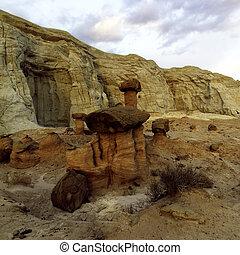 Hoodoos - Hoodos in American Southwest with balancing rocks...