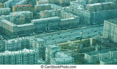 Taffic on a street - Aerial view. Urban scene of Moscow...