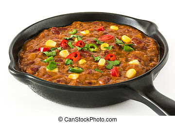 Traditional mexican tex mex chili con carne in a frying pan...