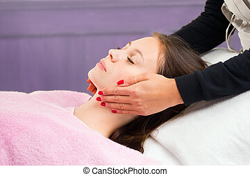 Young woman during spa